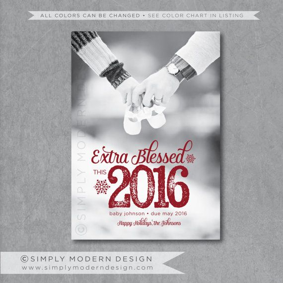 new years card, pregnancy announcement, holiday card, christmas card, pregnancy announcement, new baby, extra blessed, PRINTABLE  www.simplymoderndesign.com
