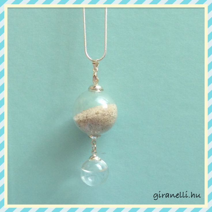 Summer necklace with sand and water - glass necklace Giranelli design jewelry Www.giranelli.hu