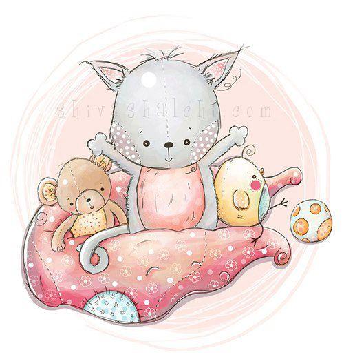 Illustrazione carino - Nursery - felice coperta amici, gattino, pulcino, orsacchiotto di ShivaIllustrations su Etsy https://www.etsy.com/it/listing/152421435/illustrazione-carino-nursery-felice
