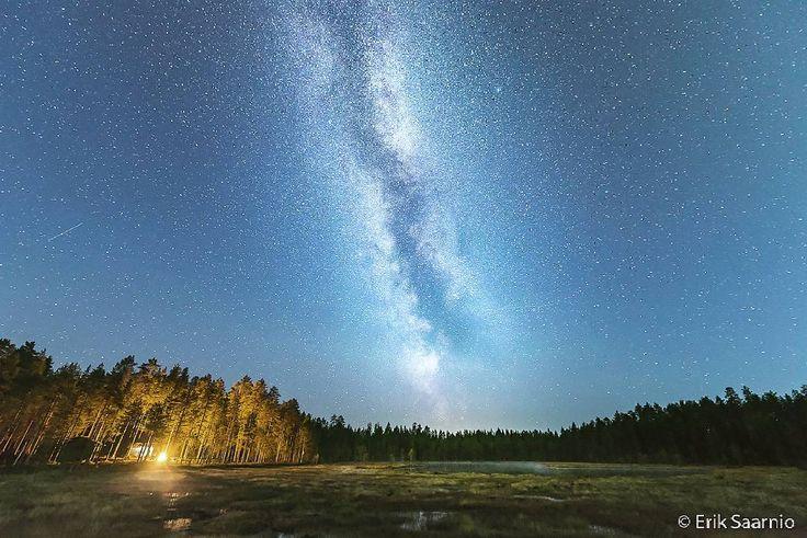 erik_saarnioMilky way and campfire at night. East Finland. It's nice snow cover already here.  Linnunrata ja nuotio yömaisemassa.