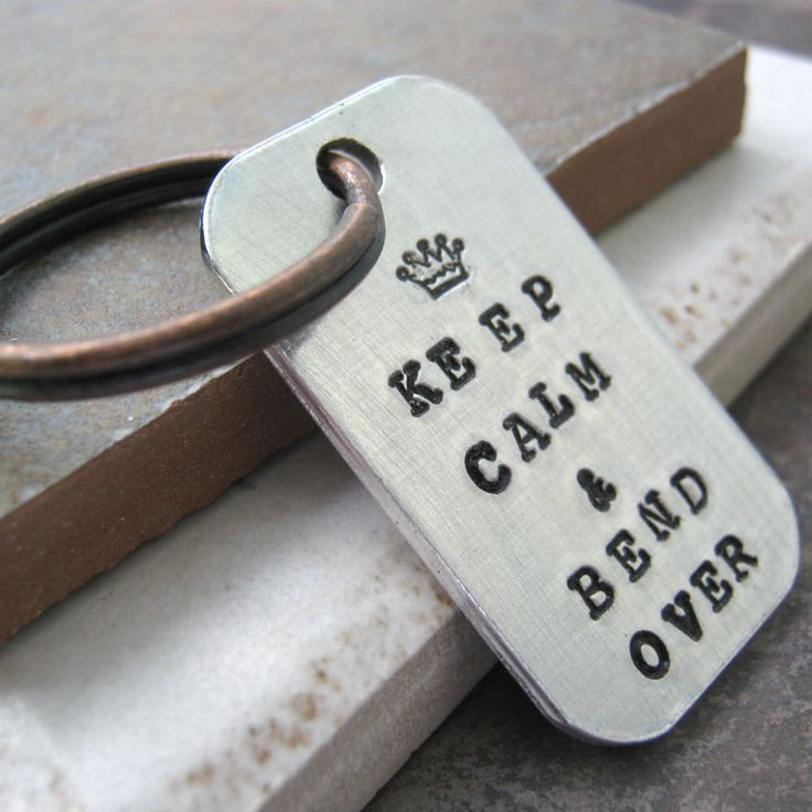 Keep Calm and Bend Over BDSM Key Chain, rounded aluminum dog tag, antique copper split ring, great gift for the dom, domme, master, mistress by TheTwistedScrew on Etsy https://www.etsy.com/uk/listing/200269599/keep-calm-and-bend-over-bdsm-key-chain