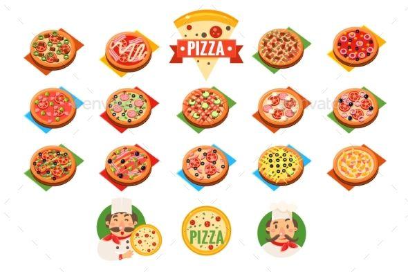 Pizza Sett, Popular Varieties of Pizzas Vector - Vector EPS