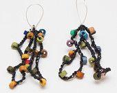 Handmade original style hand crochet cord with tiny ceramic beads earring