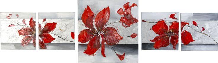 Quadro moderno componibile fiori rossi - rif.03217 | Quadri ...