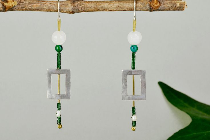 Open rectangle earring,sterling silver drop,green bead earring, long drops,chrysocolla earring, pearl drop, geometric jewelry, gift for wife by ColorLatinoJewelry on Etsy