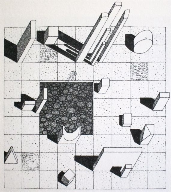 Herbert Bayer  Drawing for a marble garden at the  Aspen Institute for Humanistic Studies  1955. Bauhaus