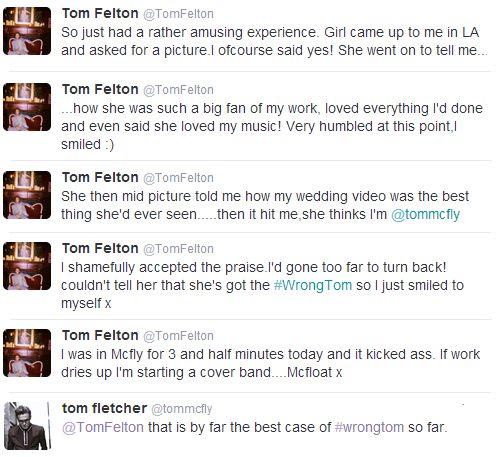 it's so old but still funny.  Tom Felton and Tom Fletcher's tweets