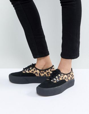 5b7fa0c7f25 Vans Authentic Platform Trainers In Leopard Print in 2019