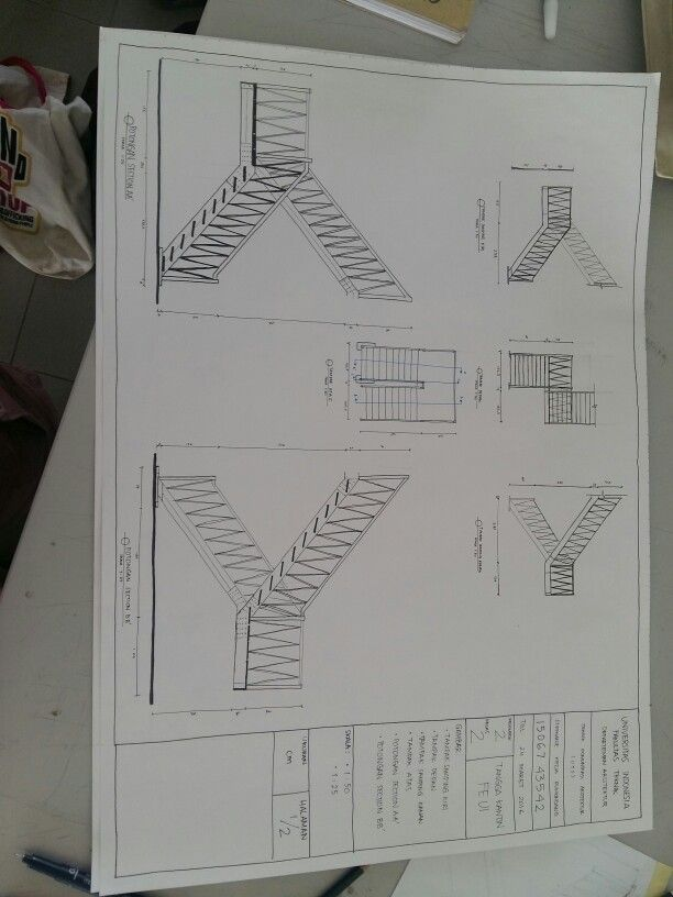UTS Orthographic drawing (1) Tangga Kantin FE