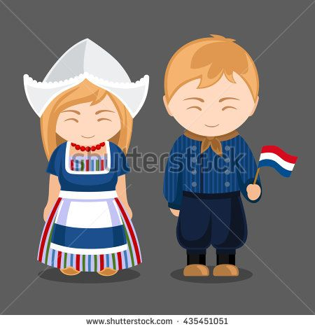 Dutches in national dress with a flag. A man and a woman in traditional costume. Travel to Netherlands. People. Vector illustration.