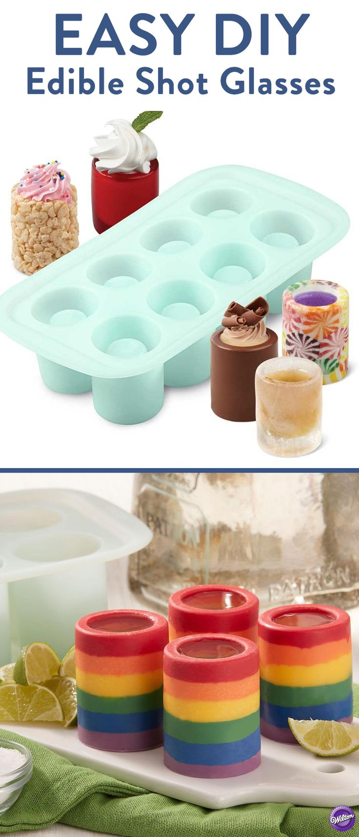 "Easiest Way to Make Edible Candy Shot Glasses -  Use Candy Melts candy colors to make these Rainbow Candy Shot Glasses. Fill with layers of melted candy in alternating colors. Let it harden, and just ""pop"" them right out of the flexible silicone mold. Serve filled with liquor or even ice cream! This versatile silicone mold is oven-safe up to 500°F and freezer-safe. Make hard candy shot glasses, frozen shot glasses and jello shot glasses, too! Plus, it's dishwasher-safe so cleanup is a cinch."