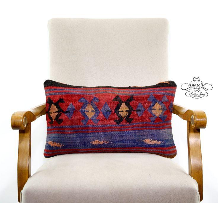 "Indigo Blue Aztec Turkish Kilim Rug Lumbar Pillow Decorative Cushion Cover Sofa Couch Kelim Carpet Tribal Nomadic Eclectic Throw 12x20""Throw by AnatoliaCollection"