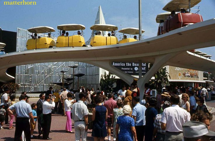 Beauty shot of the front of tomorrowland in 1968 with the for Disneyland mural