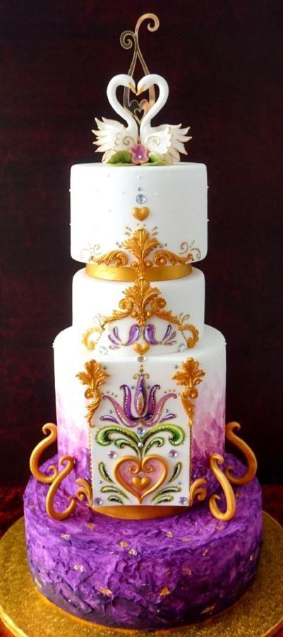 ultra violet wedding by mnamka_smizany - http://cakesdecor.com/cakes/303906-ultra-violet-wedding