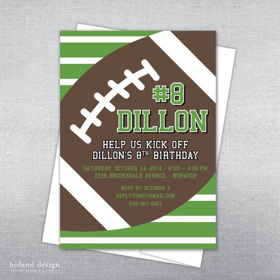 Boland Design Paper Co. Football birthday invitation. Football party. Football invitation.