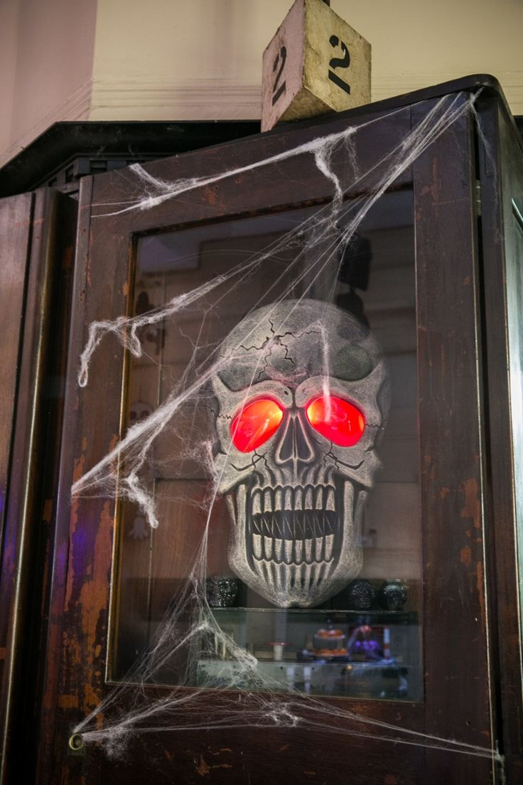 this light up hanging skull makes a great door decoration for halloween