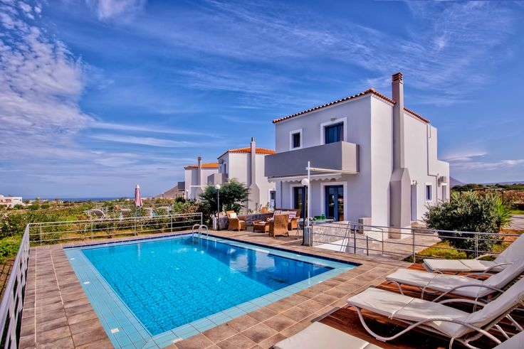 4 Bedroom, 2 Bathrooms, 800m from the Beach, Sea View, Gym Area, Jacuzzi Pollo Villas in Stavros Akrotiri, Chania Crete.Three brand new villas of luxury construction and design, 176 sq.meters each with four bedrooms,kitchen, two bathrooms,