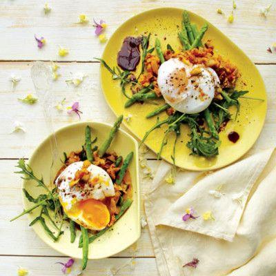Taste Mag   Poached egg-and-atchar salad @ http://taste.co.za/recipes/poached-egg-and-atchar-salad/