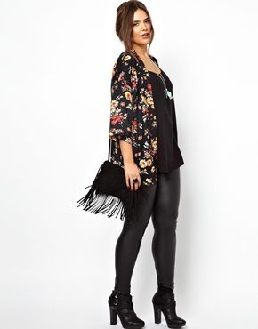 Image 4 of ASOS CURVE Exclusive Kimono In New Floral Print