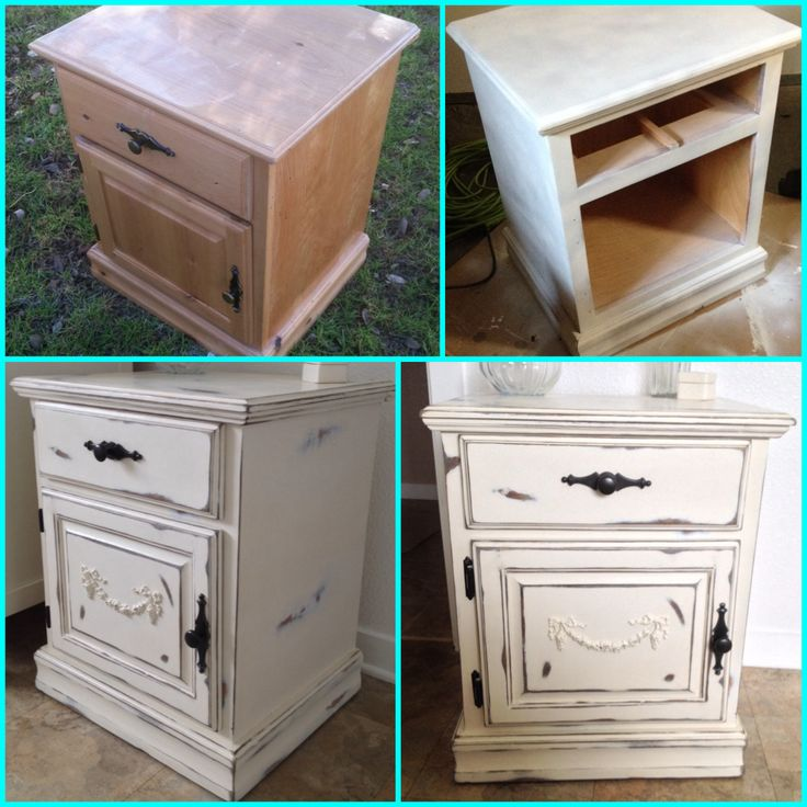My diy shabby chic nightstand furniture makeover painted wood furniture distressed paint Paint wood furniture