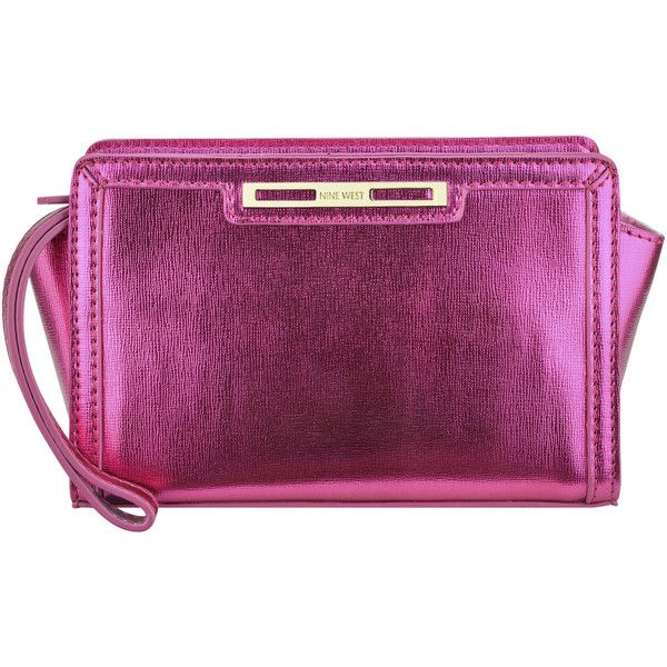 Nine West Shine Show Wristlet Clutch (65 BRL) ❤ liked on Polyvore featuring bags, handbags, clutches, pink metallic synthetic, purple purse, pink wristlet, pink clutches, nine west purses and nine west wristlet