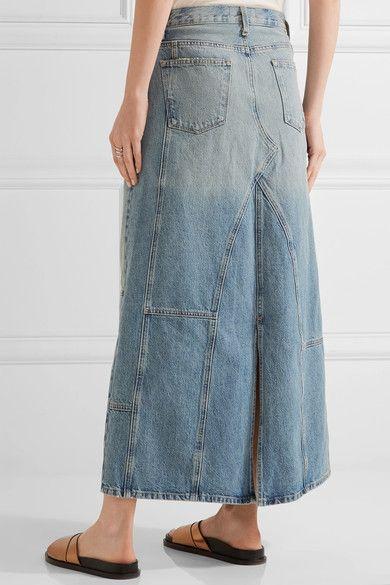 Current/Elliott - The Diy Patchwork Denim Maxi Skirt - Mid denim -