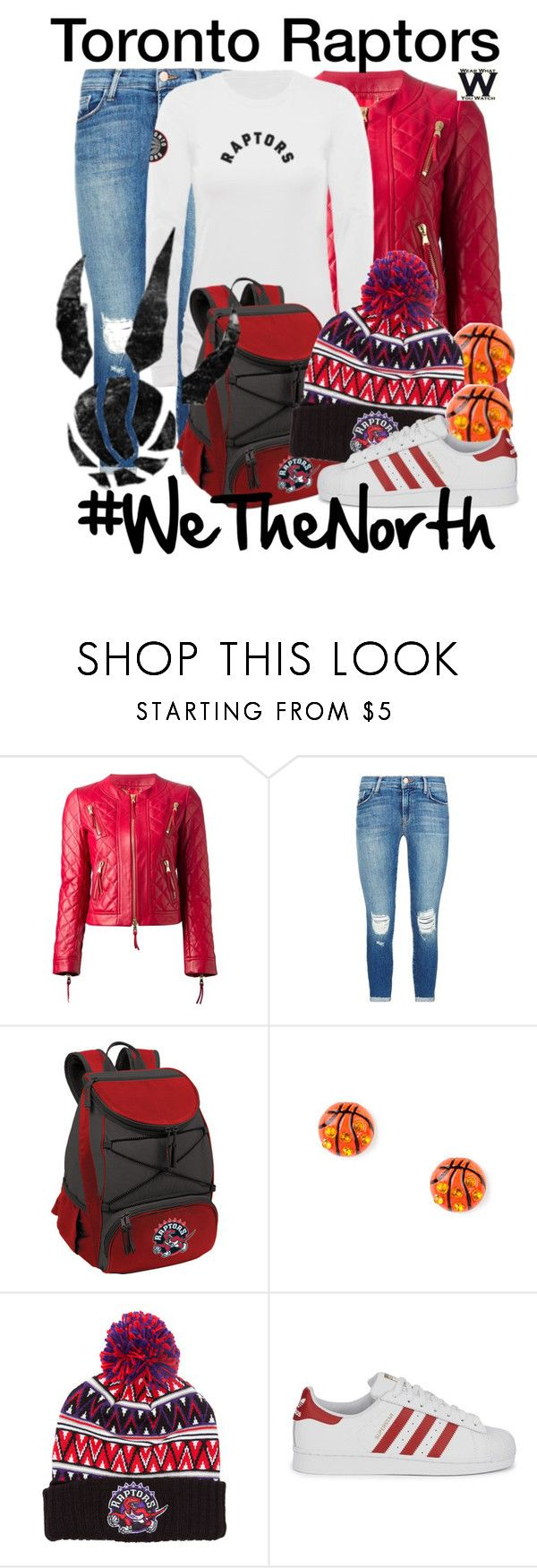 """""""Toronto Raptors"""" by wearwhatyouwatch ❤ liked on Polyvore featuring Moschino, J Brand, Picnic Time, Mitchell & Ness, adidas Originals, women's clothing, women, female, woman and misses"""