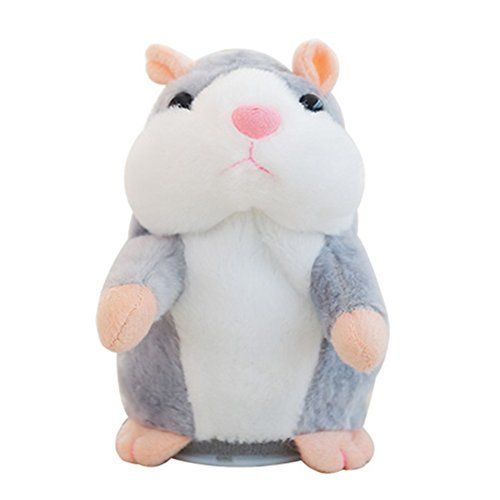 Creative Nod Talking Hamster Toys Repeats What You Say Electronic Pet Talking Plush Buddy Mouse for Child Surprise Gift   Gray. #Creative #Talking #Hamster #Toys #Repeats #What #Electronic #Plush #Buddy #Mouse #Child #Surprise #Gift #Gray