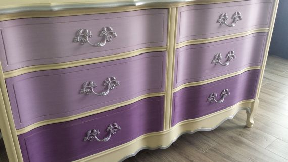 Miss Purple Vintage Bassett 6drawer dresser by WoodRemains