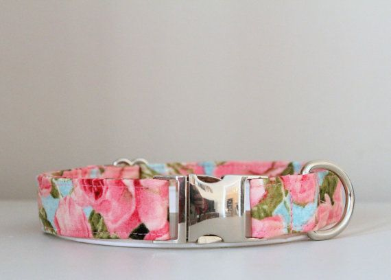 Pink and Light Blue Floral Dog Collar by PrepsterAndPup on Etsy