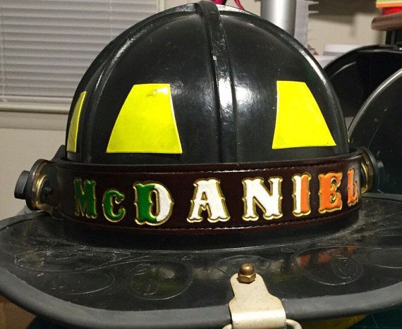 Firefighter Leather Helmet Band by Engine1Leatherwork on Etsy