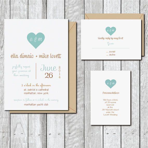 Wedding Invitations . Wedding Invites . by SweetBellaStationery, $2.50