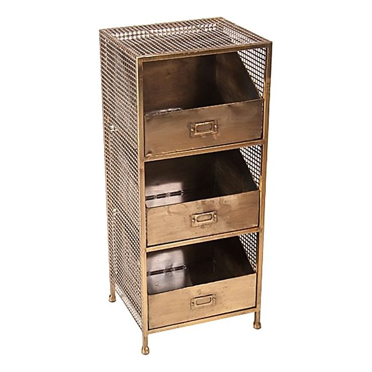 Update your storage aesthetic with the sleek modern look of the Luxe Brass 3 Drawer Storage Unit from SLH.