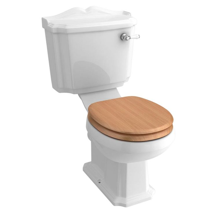 Winchester Close Coupled Traditional Toilet with Beech Toilet Seat profile large image view 1