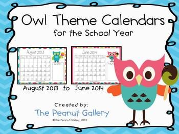 These owl theme calendars are perfect for the classroom. They could work well for behavior stars, homework stars, etc. or even to include in your own teacher records.     The months of August 2013 to June 2014 are included. There is a space for notes on each page as well. ($)