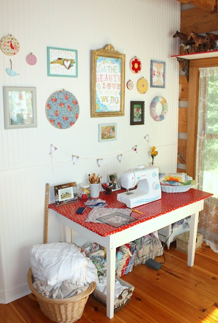 Carolina Country Living: Craft Room Reveal!Sewing Tables, Crafts Spaces, Email Address, Sewing Nooks, Crafts Room, Carolina Country, Country Living, Ate, Room Maybe Turquois