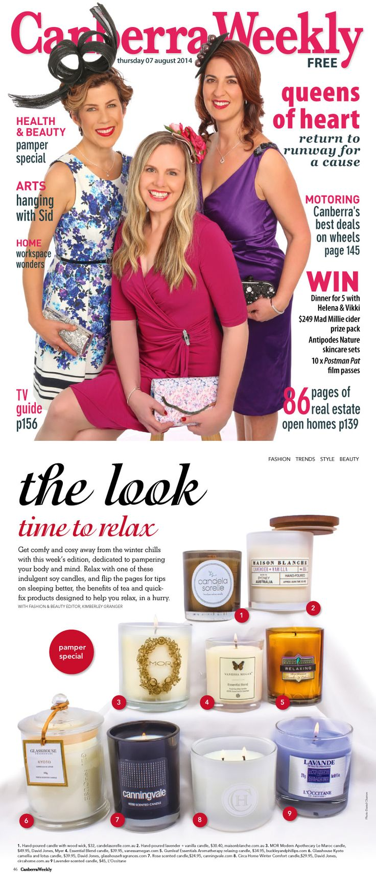Gumleaf Essentials Relaxing Candle feature - Canberra Weekly Magazine, Aug 2014