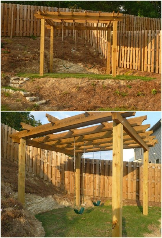 DIY Pergola Swing Set - 26 DIY Swings That Turn Your Backyard Into A Playground Ideas For