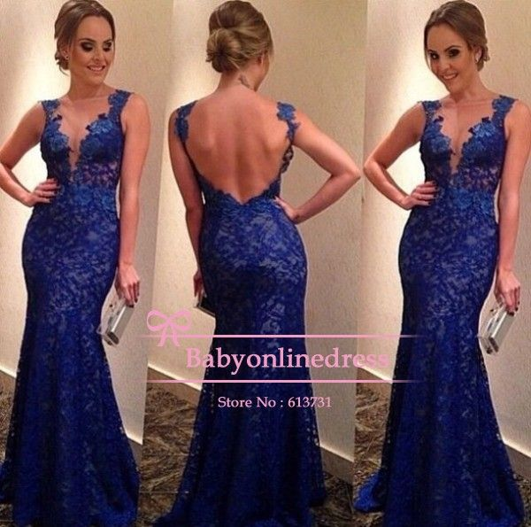 Free Shipping Sexy vestidos de fiesta 2014 Sleeveless V Neck Royal Blue Lace Evening Dresses Backless Mermaid Prom Dresses