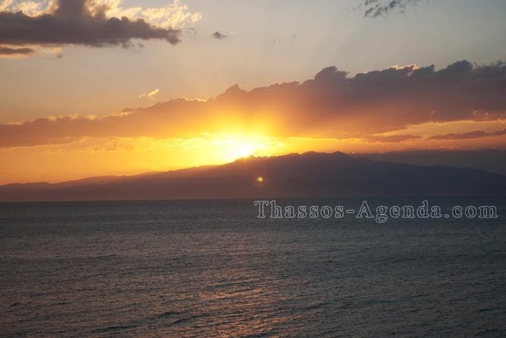 Sun is gone behind the mountains.. Skala Kallirachi in Thassos.