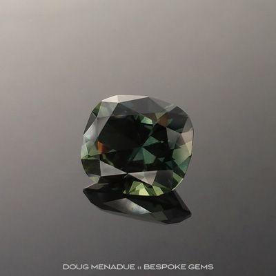 Green Sapphire, Rectangle Cushion, Rubyvale, Central Queensland, Australia, 3.60 Carats, 14.1x14.1x7.15mm, #2034312, A beautiful natural Green Sapphire from the Australian sapphire gemfields. Doug Menadue :: Bespoke Gems