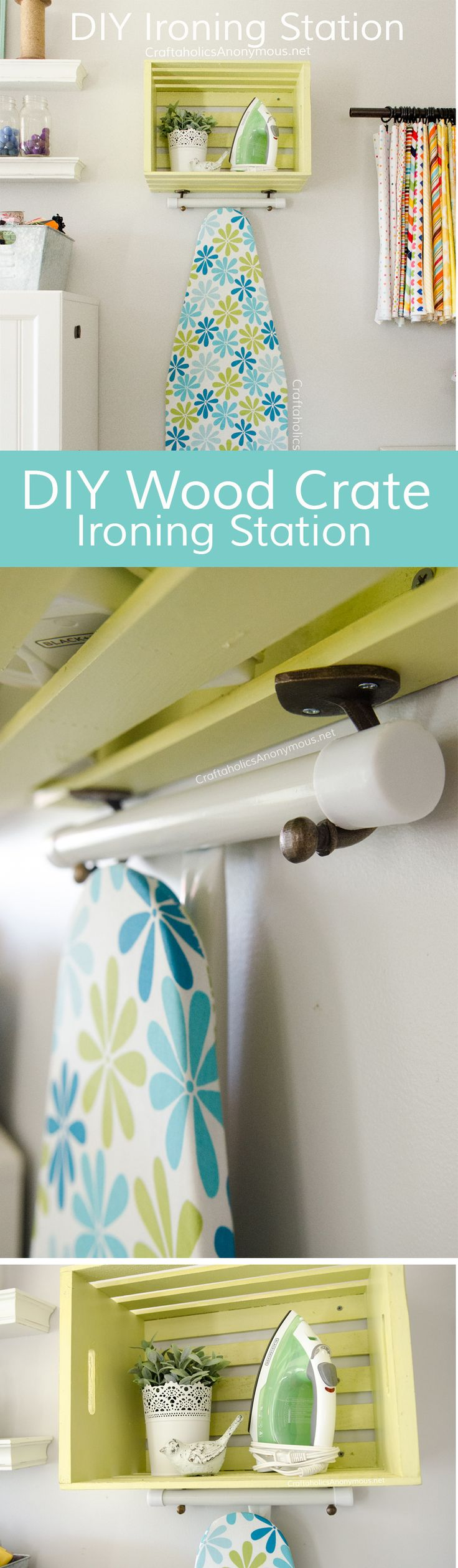 DIY Ironing Station made with Wood crate and hooks. EASY! Great for craft room or laundry room organization.
