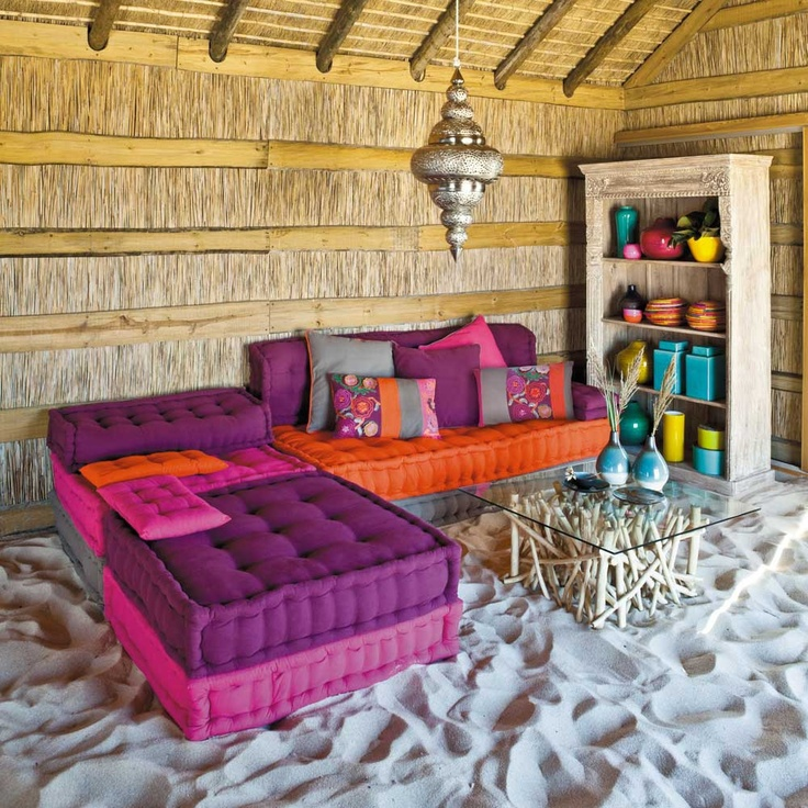 I love this couch -- and the idea that this is on the beach slays me. Banquette BOLCHOÏ