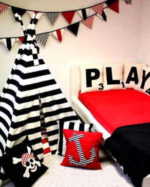 Bold graphics for a boy's room! Pennants, teepees, Scrabble pillows!