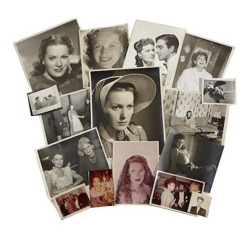 An archive of approximately 1650 Maureen O'Hara vintage and modern photographs and negatives, including personal snapshots, scenes from films, portraits, and publicity