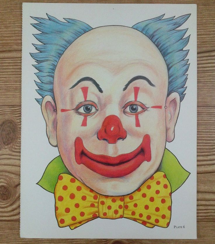 Vintage Die Cut Out Paper Clown Mask Poster Wall Art Halloween Face Plate 6 9x12 | Collectibles, Holiday & Seasonal, Halloween | eBay!