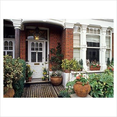 GAP Photos - Garden & Plant Picture Library - Front garden of terraced Victorian house with containers and Fatsia japonica - GAP Photos - Specialising in horticultural photography