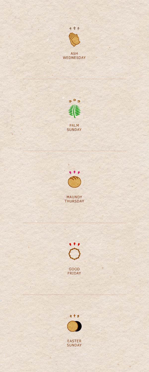 Easter Logos by Luma Vine Creative, via Behance.    This piece of design displays the religious days that form the Easter holiday. I can use this as reference and inspiration.