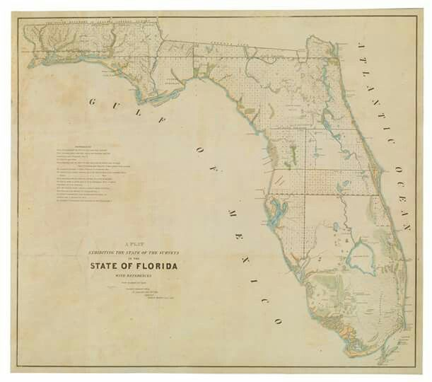 #OTD in 1845, Florida became the 27th state. Happy Birthday, Florida!  Robert Butler, General Surveyor's Office, 1845: Touchton Map Library Collection