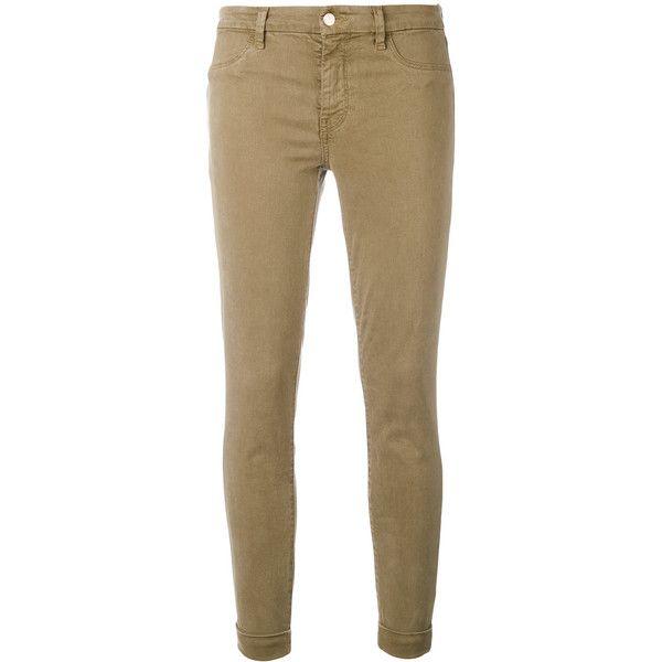 J Brand skinny jeans ($264) ❤ liked on Polyvore featuring jeans, brown, brown skinny jeans, brown jeans, skinny jeans, skinny fit jeans and cut skinny jeans